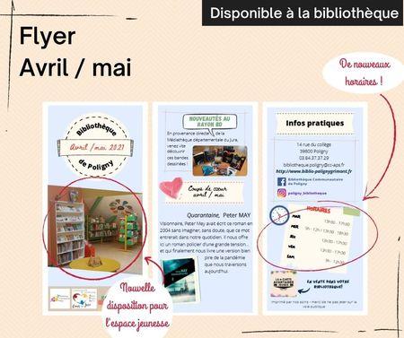 Flyer avril/mai bibliothèque de Poligny