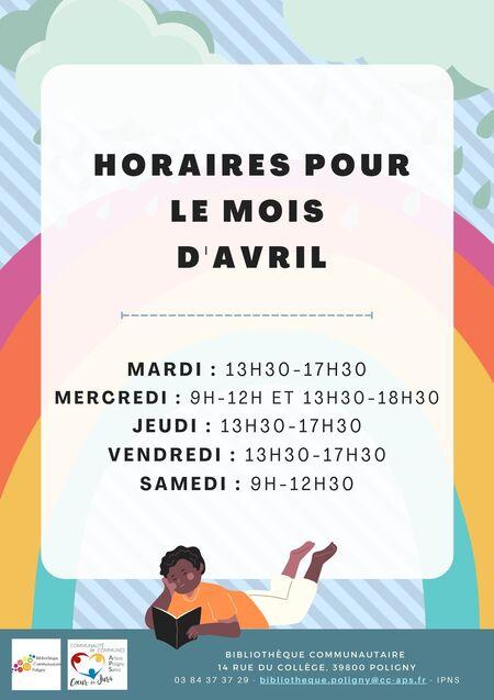 Horaire mois d'avril - Bibliothèque de Poligny