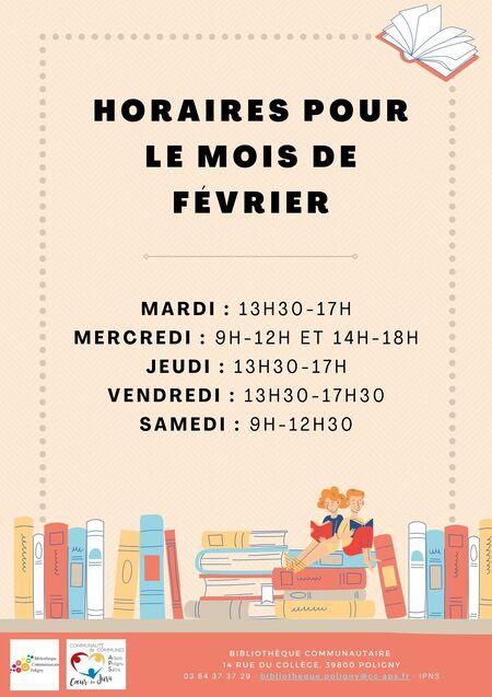 Horaires mois de février - bibliothèque de Poligny
